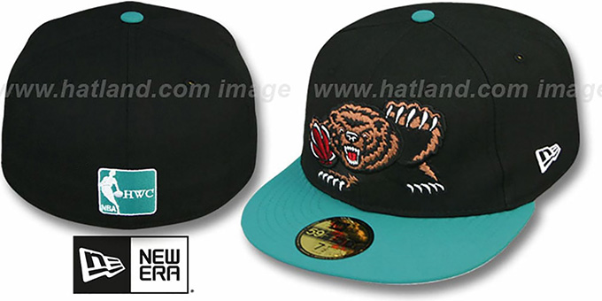 Grizzlies '2T TEAM-BASIC' Black-Teal Fitted Hat by New Era : pictured without stickers that these products are shipped with