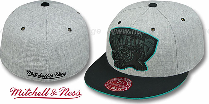 Grizzlies '2T XL-LOGO FADEOUT' Grey-Black Fitted Hat by Mitchell & Ness : pictured without stickers that these products are shipped with