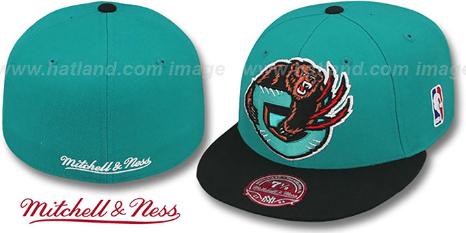 Grizzlies '2T XL-LOGO' Teal-Black Fitted Hat by Mitchell & Ness : pictured without stickers that these products are shipped with