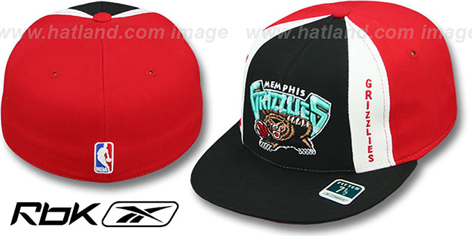 Grizzlies 'AJD THROWBACK PINWHEEL' Black-Red Fitted Hat by Reebok : pictured without stickers that these products are shipped with