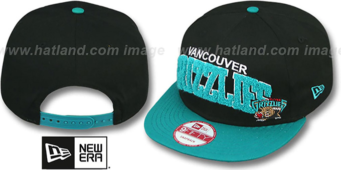 Grizzlies 'CHENILLE-ARCH SNAPBACK' Black-Teal Hat by New Era