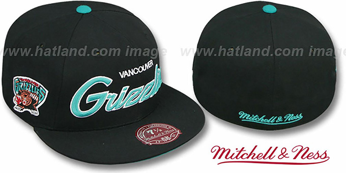 Grizzlies 'CLASSIC-SCRIPT' Black Fitted Hat by Mitchell & Ness : pictured without stickers that these products are shipped with