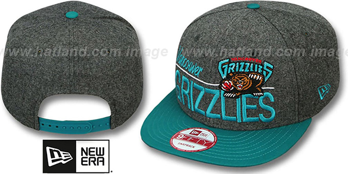 Grizzlies 'FLANNEL SNAPBACK' Grey-Teal Hat by New Era : pictured without stickers that these products are shipped with
