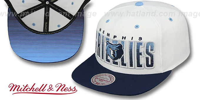Grizzlies 'HOMESTAND SNAPBACK' White-Navy Hat by Mitchell and Ness : pictured without stickers that these products are shipped with