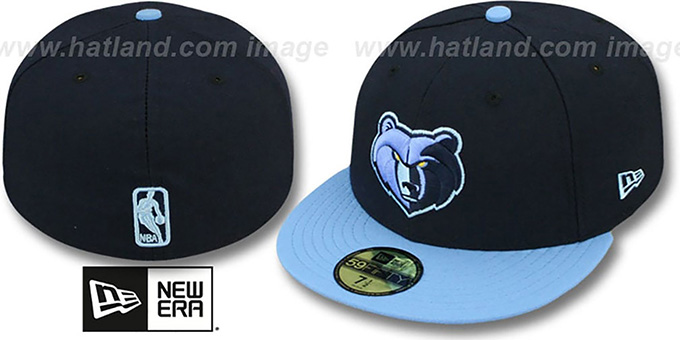Grizzlies 'NBA-CHASE' Navy-Sky Fitted Hat by New Era : pictured without stickers that these products are shipped with