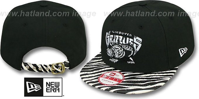 Grizzlies 'OSTRICH-ZEBRA STRAPBACK' Hat by New Era : pictured without stickers that these products are shipped with