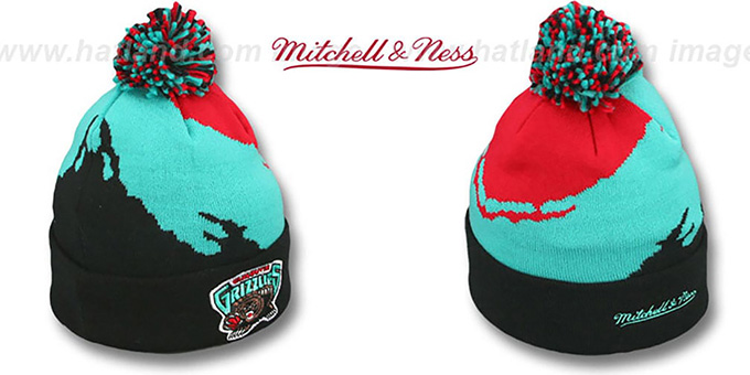 Grizzlies 'PAINTBRUSH BEANIE' by Mitchell and Ness : pictured without stickers that these products are shipped with