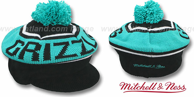Grizzlies 'RERUN KNIT BEANIE' by Mitchell and Ness : pictured without stickers that these products are shipped with