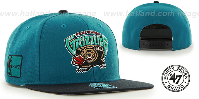 Grizzlies 'SURE-SHOT SNAPBACK' Teal-Black Hat by Twins 47 Brand : pictured without stickers that these products are shipped with