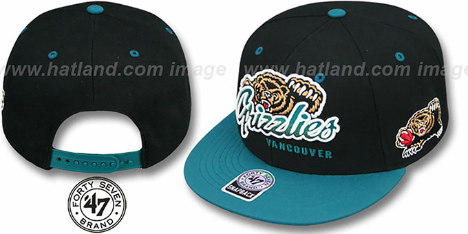 Grizzlies 'TRICKY LOU SNAPBACK' Black-Teal Hat by Twins 47 Brand : pictured without stickers that these products are shipped with