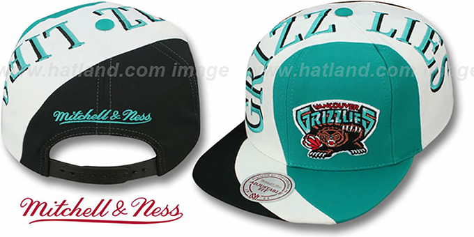 Grizzlies 'TWIRL SNAPBACK' Hat by Mitchell and Ness : pictured without stickers that these products are shipped with