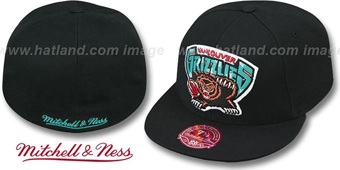 Grizzlies 'XL-LOGO BASIC' Black Fitted Hat by Mitchell & Ness : pictured without stickers that these products are shipped with