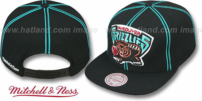Grizzlies 'XL-LOGO SOUTACHE SNAPBACK' Black Adjustable Hat by Mitchell & Ness : pictured without stickers that these products are shipped with