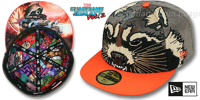 Guardians of the Galaxy 'ROCKET RACCOON' Fitted Hat by New Era : pictured without stickers that these products are shipped with