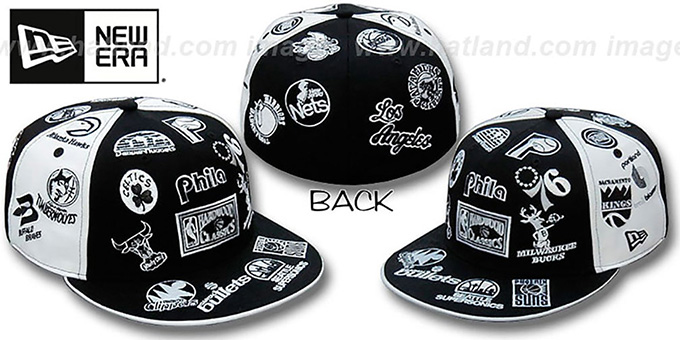 Hardwood 'ALL-OVER PINWHEEL' Black-White Fitted Hat by New Era : pictured without stickers that these products are shipped with
