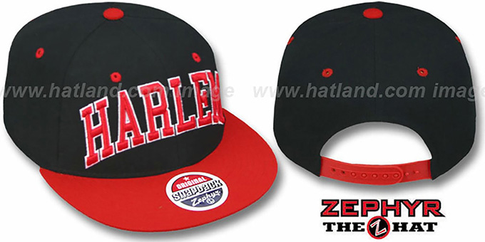 Harlem '2T SUPER-ARCH SNAPBACK' Black-Red Adjustable Hat by Zephyr : pictured without stickers that these products are shipped with