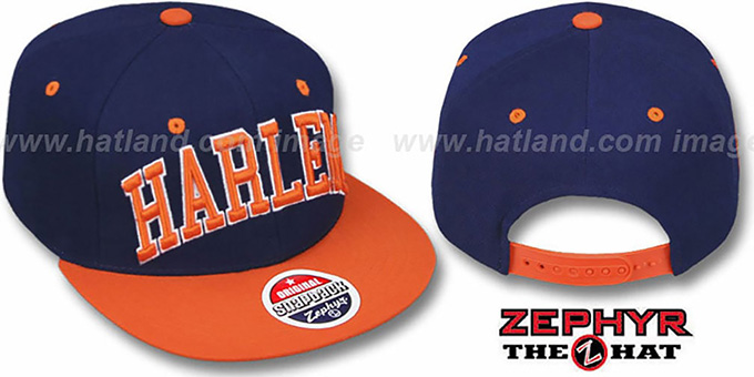 Harlem '2T SUPER-ARCH SNAPBACK' Navy-Orange Adjustable Hat by Zephyr : pictured without stickers that these products are shipped with