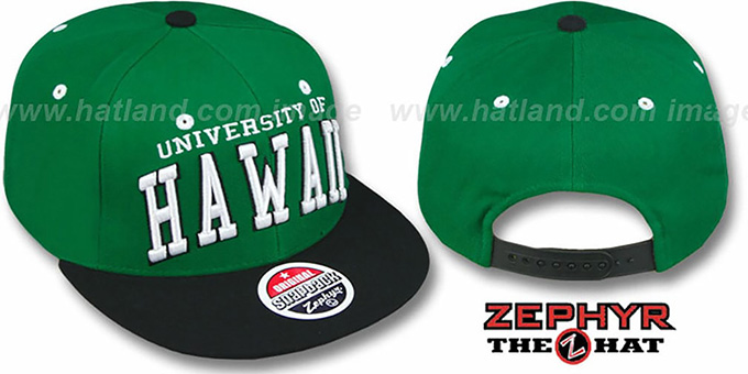 Hawaii '2T SUPER-ARCH SNAPBACK' Green-Black Hat by Zephyr : pictured without stickers that these products are shipped with