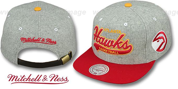 Hawks '2T TAILSWEEPER STRAPBACK' Grey-Red Hat by Mitchell and Ness