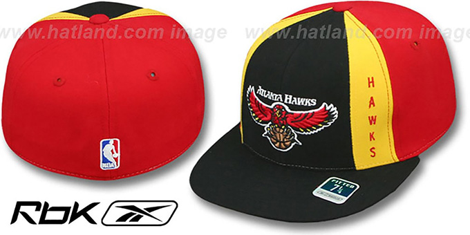 Hawks 'AJD THROWBACK PINWHEEL' Black-Red Fitted Hat by Reebok : pictured without stickers that these products are shipped with