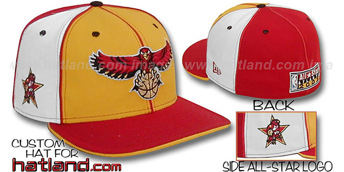 Hawks ALLSTAR 'PINWHEEL' Gold-White-Red Fitted Hat : pictured without stickers that these products are shipped with