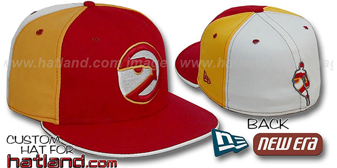 Hawks BACK 'INSIDER PINWHEEL' Red-Gold-White Fitted Hat : pictured without stickers that these products are shipped with