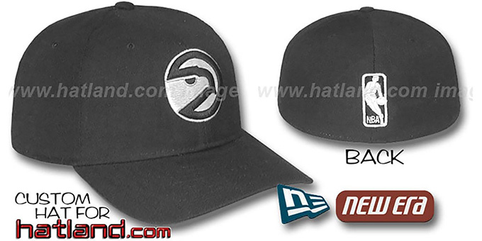 Hawks 'BASIC HARDWOOD' Black-Black Fitted Hat by New Era : pictured without stickers that these products are shipped with