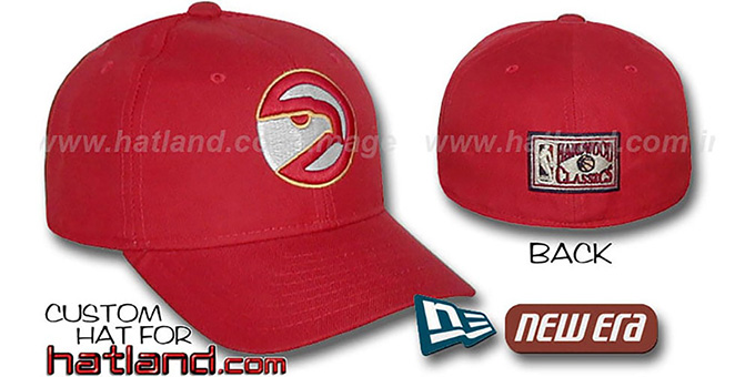Hawks 'BASIC HARDWOOD' Fitted Hat by New Era - red : pictured without stickers that these products are shipped with