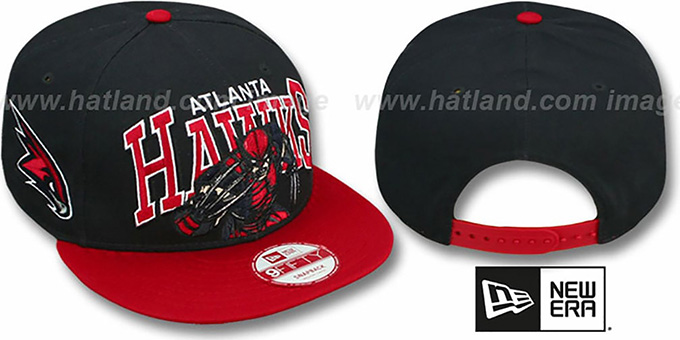 Hawks 'CHALK-UP HERO SNAPBACK' Navy-Red Hat by New Era : pictured without stickers that these products are shipped with
