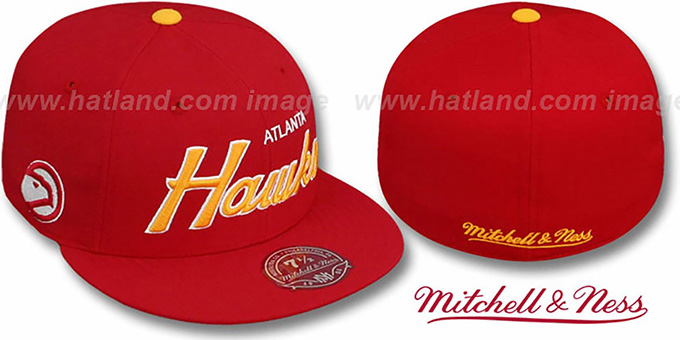 Hawks 'CLASSIC-SCRIPT' Red Fitted Hat by Mitchell & Ness : pictured without stickers that these products are shipped with
