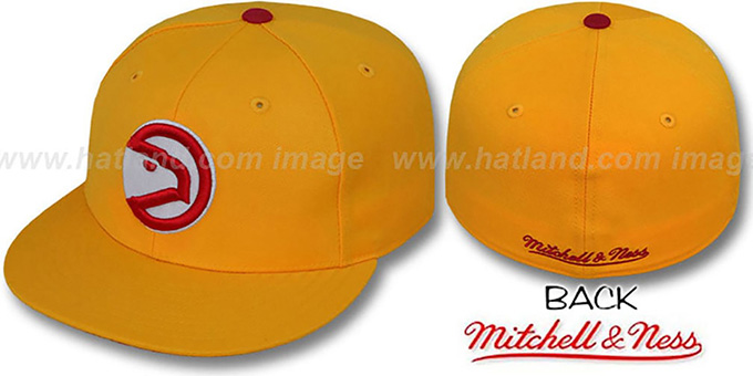 Hawks 'CLASSIC THROWBACK' Gold Fitted Hat by Mitchell & Ness : pictured without stickers that these products are shipped with