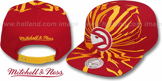 Hawks 'EARTHQUAKE SNAPBACK' Red Hat by Mitchell & Ness : pictured without stickers that these products are shipped with