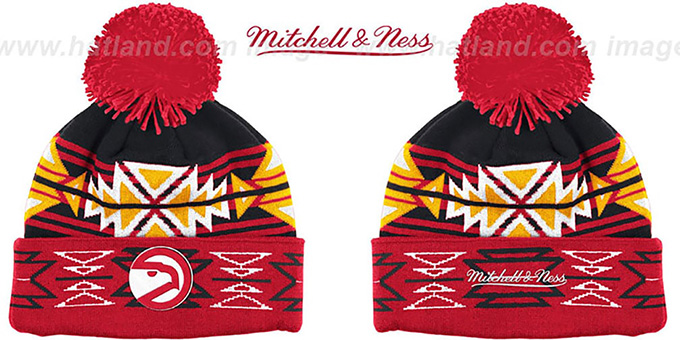 Hawks HWC 'GEOTECH' Knit Beanie by Mitchell and Ness : pictured without stickers that these products are shipped with