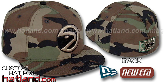 Hawks HARDWOOD 'ARMY CAMO' Fitted Hat by New Era : pictured without stickers that these products are shipped with