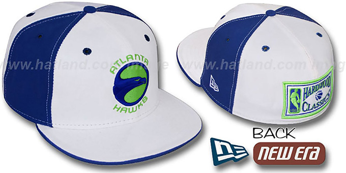 Hawks HARDWOOD 'PINWHEEL' White-Royal Fitted Hat : pictured without stickers that these products are shipped with