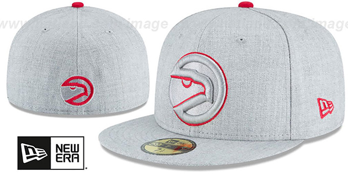 Hawks 'HEATHER TEAM-BASIC' Light Grey Fitted Hat by New Era : pictured without stickers that these products are shipped with