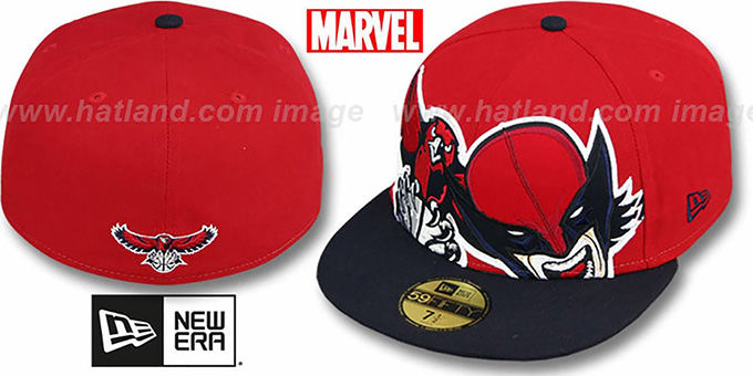 Hawks 'HERO-HCL' Red-Navy Fitted Hat by New Era : pictured without stickers that these products are shipped with