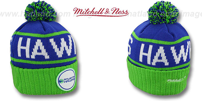 Hawks 'HIGH-5 CIRCLE BEANIE' Royal-Green by Mitchell and Ness : pictured without stickers that these products are shipped with