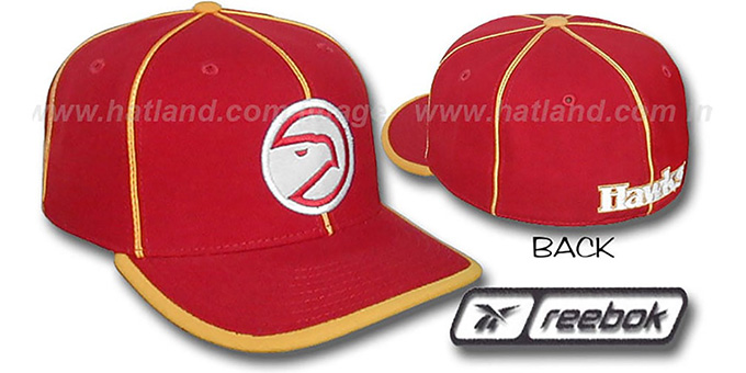 Hawks HW 'WILDSIDE' Fitted Hat by Reebok - red : pictured without stickers that these products are shipped with