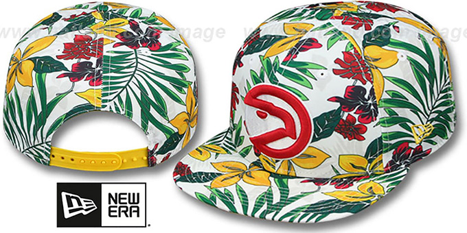 Hawks 'HWC TROPTRIP BLOOM SNAPBACK' Hat by New Era : pictured without stickers that these products are shipped with