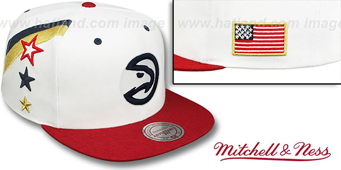 Hawks 'INDEPENDENCE SNAPBACK' Hat by Mitchell and Ness : pictured without stickers that these products are shipped with