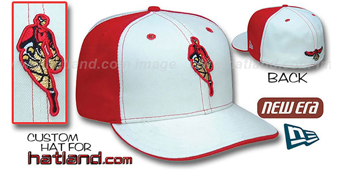 Hawks INSIDER 'PINWHEEL' White-Red Fitted Hat by New Era : pictured without stickers that these products are shipped with