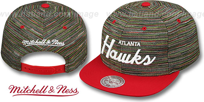 Hawks 'KNIT-WEAVE SNAPBACK' Multi-Red Hat by Mitchell and Ness : pictured without stickers that these products are shipped with
