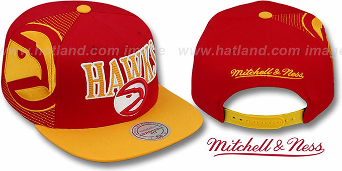 Hawks 'LASER-STITCH SNAPBACK' Red-Gold Hat by Mitchell and Ness : pictured without stickers that these products are shipped with