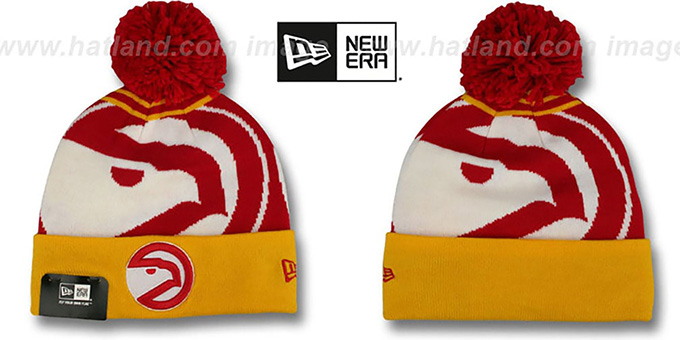 Hawks 'LOGO WHIZ' Red-Gold Knit Beanie Hat by New Era : pictured without stickers that these products are shipped with