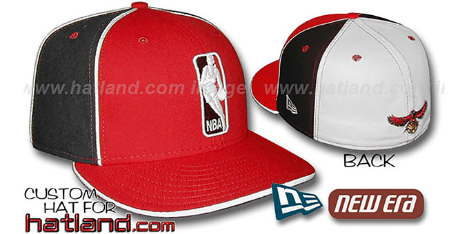 Hawks 'LOGOMAN-2' Red-Black-White Fitted Hat by New Era : pictured without stickers that these products are shipped with