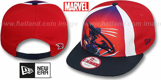 Hawks 'MARVEL RETRO-SLICE SNAPBACK' Red-Navy Hat by New Era : pictured without stickers that these products are shipped with