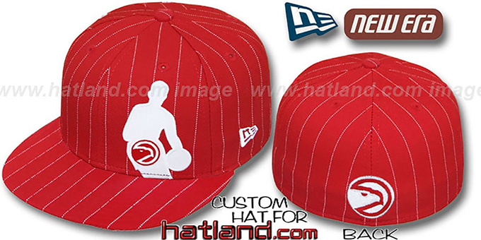 Hawks 'NBA SILHOUETTE PINSTRIPE' Red-White Fitted Hat by New Era : pictured without stickers that these products are shipped with