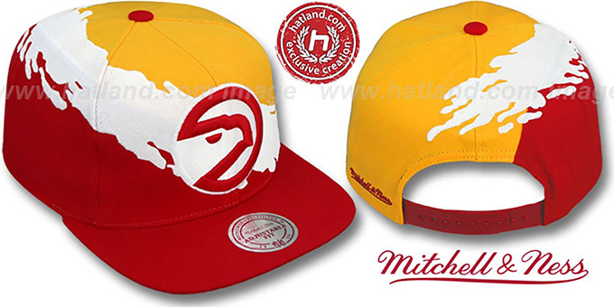 Hawks 'PAINTBRUSH SNAPBACK' Gold-White-Red Hat by Mitchell & Ness : pictured without stickers that these products are shipped with