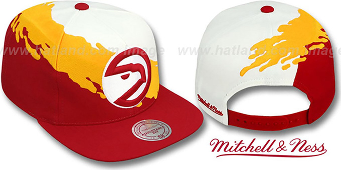 Hawks 'PAINTBRUSH SNAPBACK' White-Gold-Red Hat by Mitchell & Ness : pictured without stickers that these products are shipped with